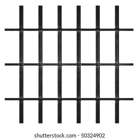 Rusty Prison Bars on White Background. Clipping paths