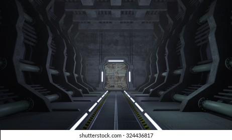 Rusty sci-fi corridor with doors. 3D rendering