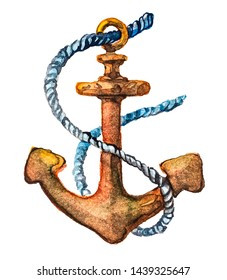 Rusty sea anchor and rope. anchor rope Time to travel. Drawing watercolor on white background. Isolated object
