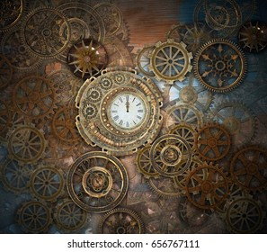 Rusty steampunk background with clock and different kinds of gears - 3D illustration
