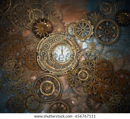 rusty steampunk background clock different kindsのイラスト素材