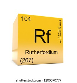 Rutherfordium chemical element symbol from the periodic table displayed on glossy yellow cube 3D render