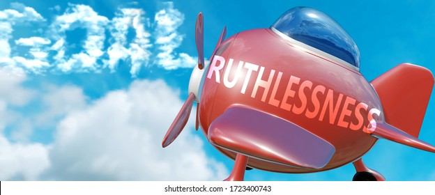 Ruthlessness helps achieve a goal - pictured as word Ruthlessness in clouds, to symbolize that Ruthlessness can help achieving goal in life and business, 3d illustration