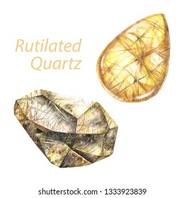 Rutilated quartz watercolor gems. Solar plexus chakra stones and healing crystals. Hand drawn illustration of gemstones isolated on white background
