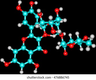 Rutin - rutoside, sophorin - is the glycoside between the flavonol quercetin and the disaccharide rutinose. 3d illustration
