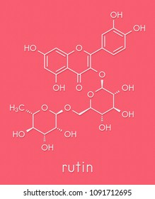 Rutin (rutoside, sophorin) molecule. Herbal glycoside composed of quercetin and rutinose. Skeletal formula.