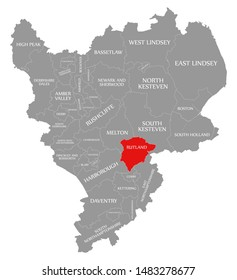 Rutland red highlighted in map of East Midlands England UK