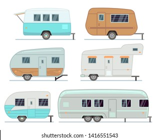 Rv camping trailers, travel mobile home, caravan set isolated. Home camper for travel, trailer mobile of collection illustration