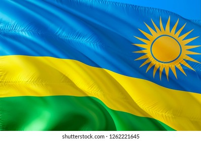 Rwanda flag. 3D Waving flag design. The national symbol of Rwanda, 3D rendering. National colors of Rwanda 3D Waving sign background design. 3D ribbon, wallpaper, pattern background