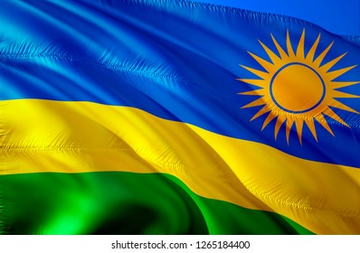 Rwanda flag. 3D Waving flag design. The national symbol of Rwanda, 3D rendering. National colors and National flag of Rwanda for a background. Rwanda sign on smooth silk