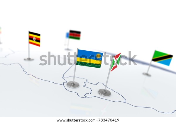 Rwanda flag. Country flag with chrome flagpole on the world map with neighbors countries borders. 3d illustration rendering flag