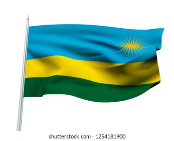 Rwanda flag floating in the wind with a White sky background. 3D illustration.