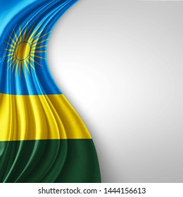 Rwanda  flag of silk with copyspace for your text or images and White  background-3D illustration
