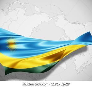 Rwanda flag of silk and world map background -3D illustration