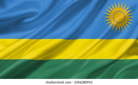 Rwanda flag waving with the wind, 3D illustration.
