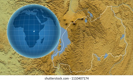 Rwanda. Globe with the shape of the country against zoomed map with its outline. Color physical map