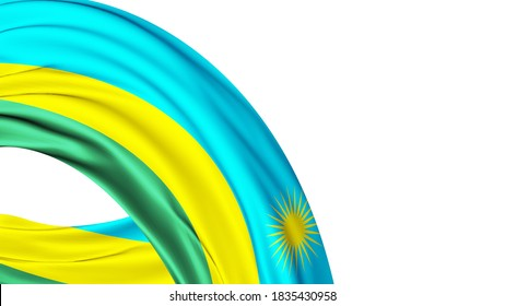 Rwanda National Flag Isolated on white background with copy space. 3D illustration