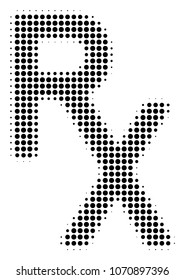 Rx Medical Symbol halftone raster pictogram. Illustration style is dotted iconic Rx Medical Symbol icon symbol on a white background. Halftone texture is circle blots.