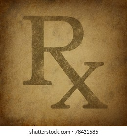 Rx Prescription for a pharmacist symbol in a grunge vintage look on parchment paper representing the medicine recommended by medical doctor.