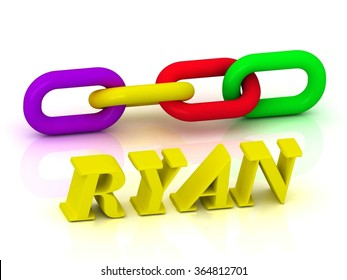RYAN- Name and Family of bright yellow letters and chain of green, yellow, red section on white background