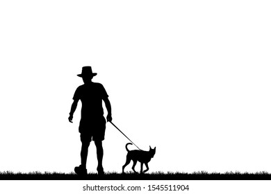 S ilhouette of a dog and man on white background