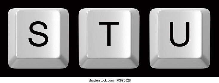 S, T, U white computer keys alphabet