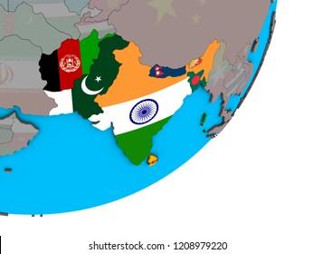 SAARC memeber states with national flags on blue political 3D globe. 3D illustration.