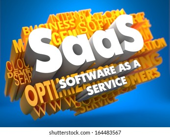 SAAS - Software-as-a-Service - on  Yellow WordCloud on Blue Background.