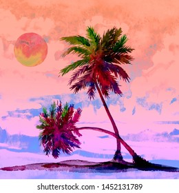 Sabal Palm (cabbage-palm, palmetto, cabbage, blue, Carolina or common palmetto, swamp cabbage) couple trees on the beach, pink sunset on cloudy sky, watercolor painting