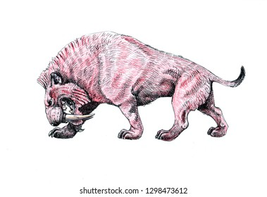 Saber tooth cat on the hunt. Animals drawing. Saber-toothed cat attack.