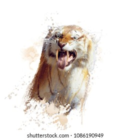 sabertooth tiger portrait watercolor