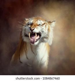 Sabertooth tiger portrait.Digital art