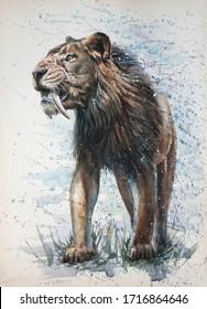 saber-tooth tiger watercolor painting predator