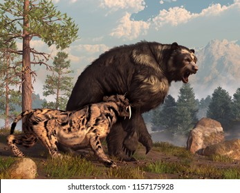 A saber-toothed cat tries to drive a short-faced bear out of its territory.  The bear is annoyed and snarls back in retaliation.  3D Rendering