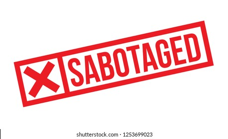sabotaged stamp on white background. Sign, label, sticker.
