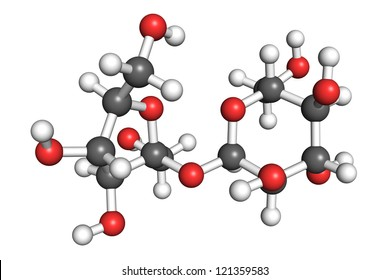 Saccharose molecule, also known as table sugar or sucrose. Ball and stick model.