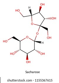 Sacharose (sucrose, sugar) molecule structure. Sugar is the generic name for sweet-tasting, many of witch are used in food.
