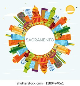 Sacramento USA City Skyline with Color Buildings, Blue Sky and Copy Space. Business Travel and Tourism Concept with Modern Architecture. Sacramento Cityscape with Landmarks.