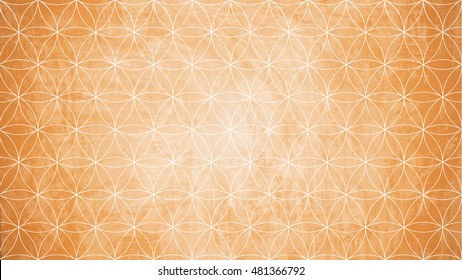 Sacred geometry in flower pattern shape on yellow wall texture