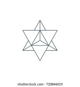 sacred geometry. merkaba thin line geometric triangle shape. esoteric or spiritual symbol. isolated on white background