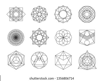 Sacred geometry symbols collection. set of hipster, abstract, alchemy, spiritual, mystic elements on white background.