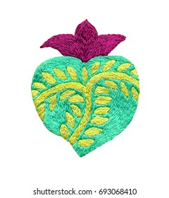 Sacred heart embroidery, Religious symbol illustration isolated on the white background