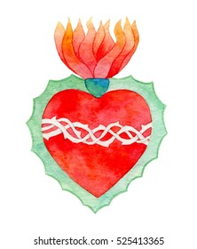 Sacred heart. Hand-drawn saint flaming heart with plants and flowers. Real watercolor illustration