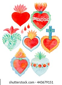 Sacred heart set. Hand-drawn saint flaming hearts with plants, flowers, cross and blood drops. Real watercolor illustration