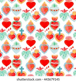 Sacred heart set. Seamless watercolor hand-drawn saint flaming hearts with plants, flowers, cross and blood drops. Real watercolor illustration