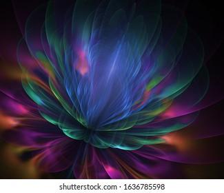 Sacred lotus flower of vision universe - fairy fourth dimension - floral fractal lovely background