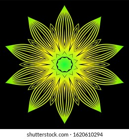 Sacred Oriental Mandala. Color Floral Ornament. Abstract Shapes In Asian Style.  Illustration. Black green yellow color.