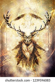 sacred ornamental deer spirit with dream catcher symbol and feathers and merkaba.