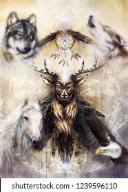 sacred ornamental deer spirit with dream catcher symbol and animals.