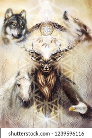 sacred ornamental deer spirit with dream catcher symbol and feathers and merkaba and flower of life.
